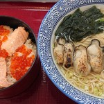 潮の音 - 炙り牡蛎ラーメン¥1,200+はらこ飯¥1,200