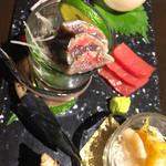94417362 - 秋刀魚のお刺身、中トロ♬︎美味美味〜♡