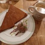 gelato pique cafe bio concept - カカオのクレープとダークチョコジェラートとコーヒー