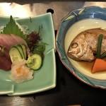 いまり海の郷 玄海丸 - 定食の刺身と煮魚