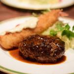 鉄板ステーキ&ワイン En - [ランチ] ハンバーグ&海老フライセット@税込1,200円
