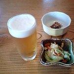 9451385 - ビールとお通し、そして蕎麦味噌