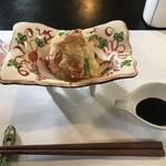 あじづくし菜生 - 赤海老のポテトサラダ  500円  お好みでソースをかけて