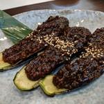 旬魚菜 しら川 - 秋茄子の鶏味噌焼