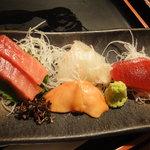 酒蔵きたやま - 造り三種盛り(ちゅうとろ、赤身、赤貝、平目)