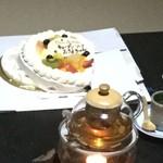中国精進料理 凛林 - 最後にケーキ(笑)地震が起きてしまったようだ