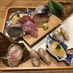94541432 - この刺身盛合せの素晴らしく見事なこと。これが楽しみでした。鯖寿司は絶品。