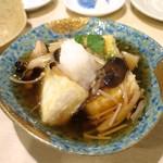 手打ち蕎麦 雷鳥 - きのこの餡かけ揚げだし豆腐