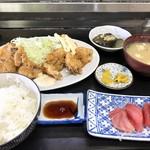 さかな屋食堂 - 料理写真:あじフライ定食(さしみ付き)
