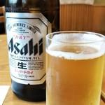 ゆば亭 ますだや - ビールで献杯です。