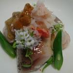 キッチン イトウ スタイル - 蟹   鰯  雲丹  〜〜旬の魚のレアグリルに 和三盆で 作った酢飯    柚  すだちで 作った白ポン酢ソース
