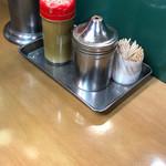 天亀そば - 赤いキャップがイワシ煮干粉末