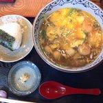 丸福 - 海鮮あんかけうどん+おにぎり
