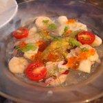 94596462 - 秋ナスのグリルと魚介、蛤だしのジュレソースがけ 800円