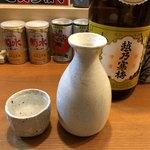 豆や - 日本酒は越乃寒梅です。