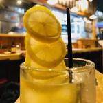 炭焼 やきとん なみ平 - レモンが勢いよく飛び出す!