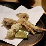 天ぷらと日本酒 明日源 - 【天ぷら】松茸、銀杏串