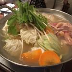 94624151 - 九州地鶏鍋です。ダシが美味しかった。