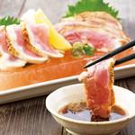 とり鉄 - 総州 紅楽美のたたき 特製肝ぽん酢