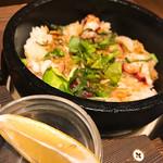 キタノイチバ - タコとクレソンの塩レモン石焼メシ 698円
