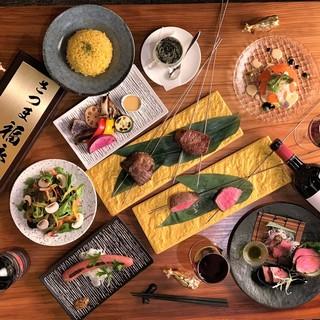 豪華赤身肉ステーキ入りのコース料理がお得!