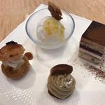 カタシマ - 料理写真:★★★★ 小ぶりなケーキ4種 どれも美味しい!