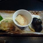 鰍嘉 - お通し 湯葉刺身 鱧の南蛮漬け 茄子
