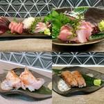 魚介料理 海 - 五種盛り、のどぐろ握りなど。