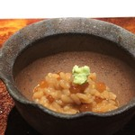 菊鮨 - 赤雲丹(唐津)と新物の「イクラ」・・海のTKGだそう。こんな豪華なTKGは初めて。