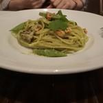 94707476 - 牡蠣と秋縞ささげの 大葉ジェノベーゼ和え スパゲッティ