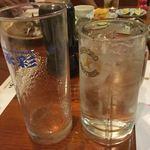 田おか - 空の水割りグラスと焼酎ロック