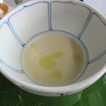 ふれんち茶懐石 京都福寿園茶寮 - 栗のポタージュ 玄米茶オイル