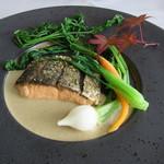 ふれんち茶懐石 京都福寿園茶寮 - 宇治茶を使った季節の魚料理 (鮭)