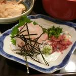 富屋 - 宇和島鯛めし定食のタイのお刺身