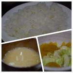 まんぷく - 御飯、味噌汁、お新香