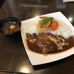 ふぅわ黒毛和牛ハンバーグ - ふうわ特製 黒毛和牛ハンバーグ&ハヤシライス定食(税込1260円)