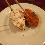 Hola! Ginza7 - カラフルドライフルーツとクリームチーズ(190円)、蟹とトマトのスペイン風グラタン(270円)