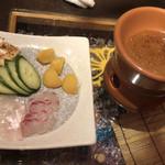 全席完全個室 地鶏と鮮魚 一石二鳥 - 焦がし味噌の日替わり野菜と鮮魚の味噌フォンデュ