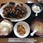 大福元 - 料理写真:鶏肉と茄子味噌炒め定食