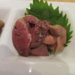 蕎麦と鶏 はんさむ - 「鶏レバーのオイル漬け」