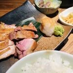 恵比寿 比内亭 - 比内地鶏の炭火焼き定食。