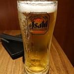 地鶏と完全個室 辻久 - 生ビール。