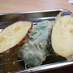 94829261 - とり天定食は、鶏もも4枚・ささみ1枚・野菜3品の内容です。 野菜の天ぷら3品は、さつまいも・ピーマン・ナスでした。