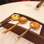 Restaurant La FinS - パンプキンスープを固めたもの、フォアグラのマカロン、コニャックに漬けた唐墨にチーズのムース