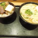 Nihombashisanukiudonhoshino - かけうどん(温玉)とミニ牛めし