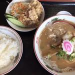 チャンピオン - 中華そば ライス・唐揚げセット(¥700)