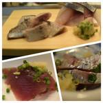 94900737 - 鰯、生鯖、鰹、鯵を刺身で