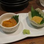 赤坂時シラズ - 雲丹 2種食べ比べ