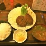 たつの家 - 181015月 東京 たつの家 メンチカツ定食750円