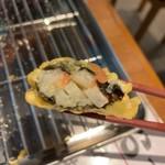 天ぷら酒場 by つか蕎麦 - 長芋の梅のり巻 断面アップ